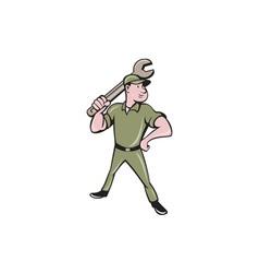 Mechanic wielding spanner cartoon vector