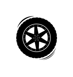 Black tire wheel silhouette vector image