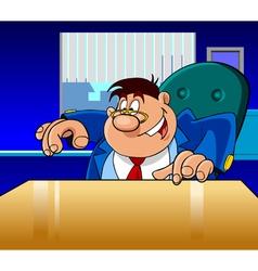 cartoon director man happily shows vector image