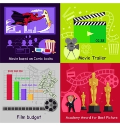 Cinema set banners film movie design vector