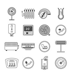 climate control line art icon set vector image