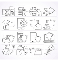 Data and Information Protection Security Icons vector image