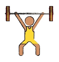 drawing man weight lifter sport athlete vector image