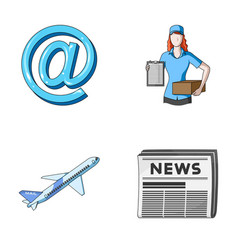 Email symbol courier with parcel postal airplane vector