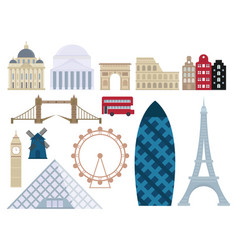 euro trip tourism travel design famous building vector image vector image