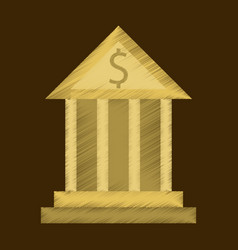 flat shading style icon business bank building vector image
