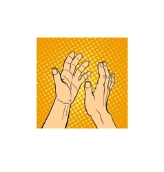 Hands applauding on white background vector image