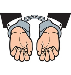 Hands in hand cuffs vector image