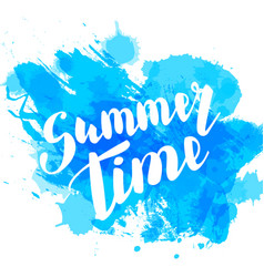 Hello summer blue colored hand lettering vector