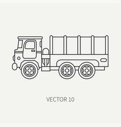 line flat plain icon tarpaulin wagon army vector image vector image