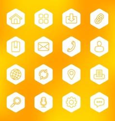 Line web icon set on white hexagon vector