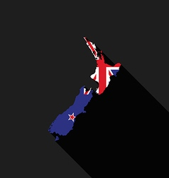 New Zealand flag map flat design vector image