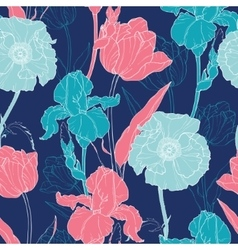 Night Flowers Seamless Repeat Pattern With vector image vector image