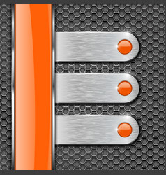 Orange glass stripe and metal plates on perforated vector