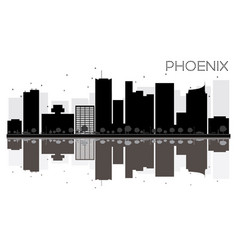 phoenix city skyline black and white silhouette vector image vector image