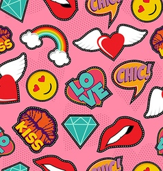 Pink pop art stitch patch seamless pattern vector