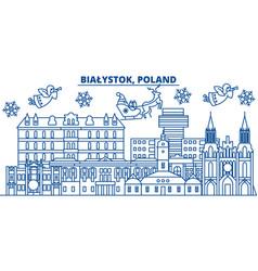 Poland bialystok winter city skyline merry vector