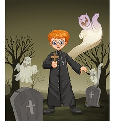 Priest holding cross in the graveyard vector