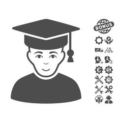 Professor icon with tools bonus vector