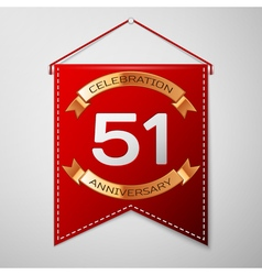 Red pennant with inscription fifty one years vector