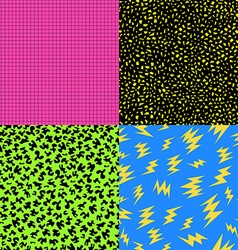 Retro 80s seamless pattern background set vector image vector image