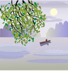 Sakura a lone boatman floats on the the lake vector
