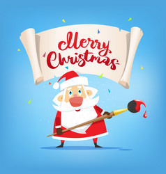 santa claus with placard merry christmas vector image vector image