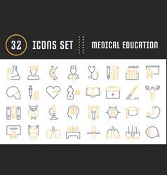 Set flat line icons medical education vector