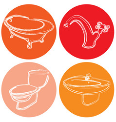 Set of icons with a picture of plumbing dev vector
