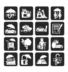 Silhouette Insurance and risk icons vector image vector image