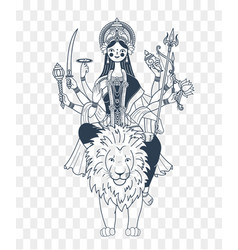 Silhouette of goddess durga many hands vector
