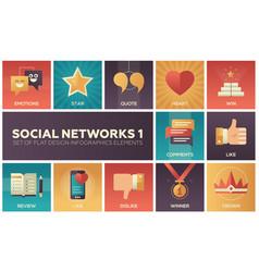 Social networks - modern set of flat design vector