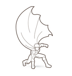 Strong man superhero landing action graphic vector