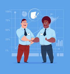 two business men handshake after signing contract vector image