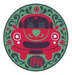 Valentine design with retro car vector