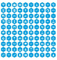 100 plane icons set blue vector