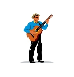 Latino musician with guitar cartoon vector