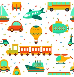 Seamless pattern with colorful transport cute vector