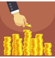 Hand put gold coins to stack business vector
