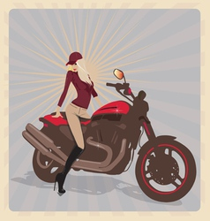 Girl with motorbike vector