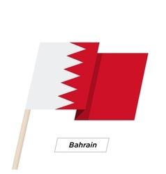 Bahrain ribbon waving flag isolated on white vector