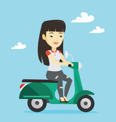 woman riding scooter vector image