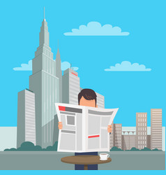 Man with newspaper at table on cityscape vector