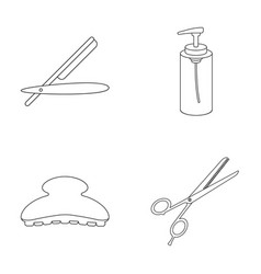 Razor lotion brush scissors hairdresser set vector