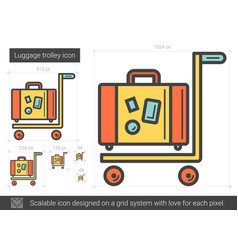Luggage trolley line icon vector