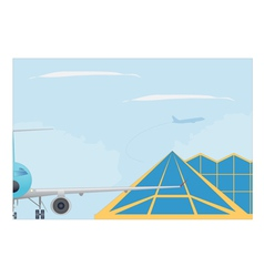 Airport plane and terminal building vector