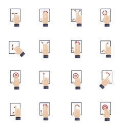 Hand touching screen flat icons vector