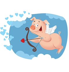 Cupid pig funny cartoon vector