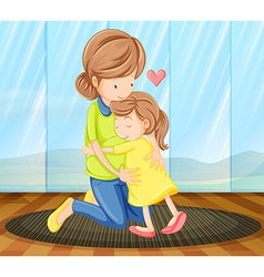 A child hugging her mother vector image