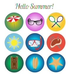 Icons set summer retro vector